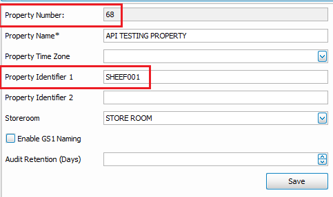 Adaco screenshot showing the Prperty Number and Property Identifier 1 fields highlighted