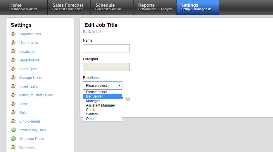 "Edit Job Title screenshot showing the ""RoleName"" dropdown"